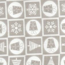 Polycotton: Christmas Squares: Grey: per metre