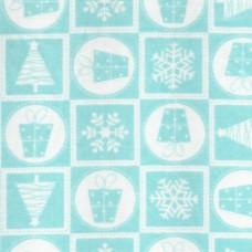 Polycotton: Christmas Squares: Aqua: per metre