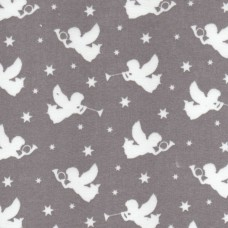 Polycotton: Angels: Grey: per metre