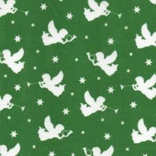 Polycotton: Angels: Green: per metre
