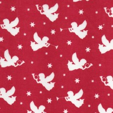 Polycotton: Angels: Red: per metre