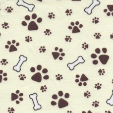 Polycotton: Bones and Paws on Beige: per metre
