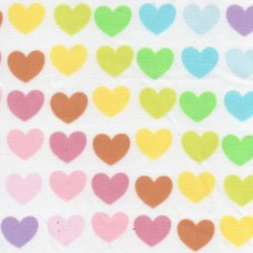 Polycotton: Rainbow Hearts: per metre