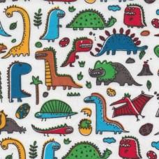 Polycotton: Dinosaur Cartoon: per metre