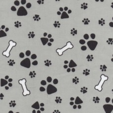 Polycotton: Bones and Paws on Grey: per metre