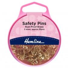 Safety Pins: Brass: 19mm/23mm: 50 Pieces
