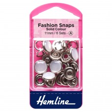 Fashion Snaps: Solid Top: 11mm: Pearl: 6 Sets