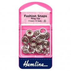 Fashion Snaps: Ring Top: 11mm: Silver: 6 Sets