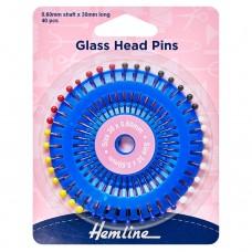 Pins: Glass Head: 30mm: Nickel: 40 Pieces
