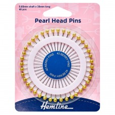 Pins: Pearl Head: Assorted: 38mm: Gold: 40 Pieces