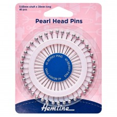 Pins: Pearl Head: Assorted: 38mm: Silver: 40 Pieces