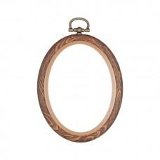 Hoop: Flexi: Oval: 5 x 7.6cm/2 x 3in: Woodgrain