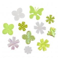 Craft Embellishments: Fabric Flower Mix: Green